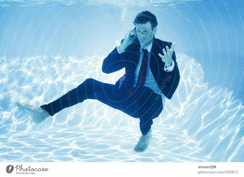 BusinessCall. Kunst ästhetisch Schwimmbad Anzug Krawatte Hemd Hemdkragen Telefongespräch Telekommunikation verrückt außergewöhnlich Kommunikationsmittel