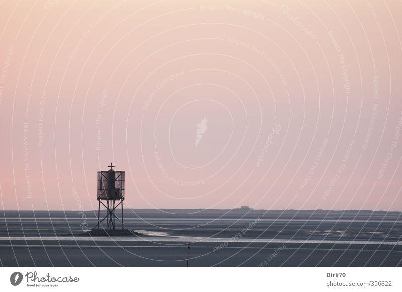 Orientierungspunkt im Watt Himmel Natur Sommer Meer Einsamkeit Landschaft ruhig Strand schwarz Ferne Küste grau rosa Insel Schönes Wetter trist