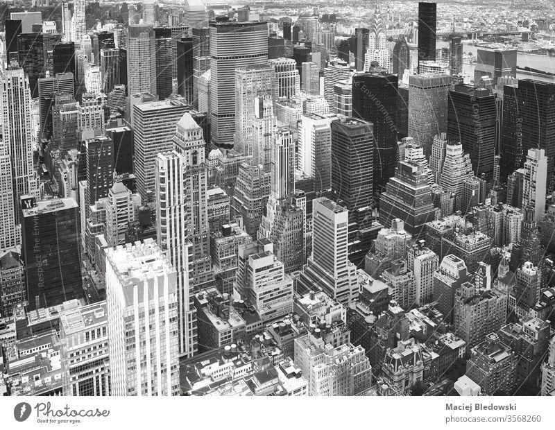 Schwarzweiß-Luftaufnahme von Manhattan, New York. New York State Antenne Großstadt nyc reisen Stadtbild schwarz auf weiß Büro Appartement Architektur Gebäude