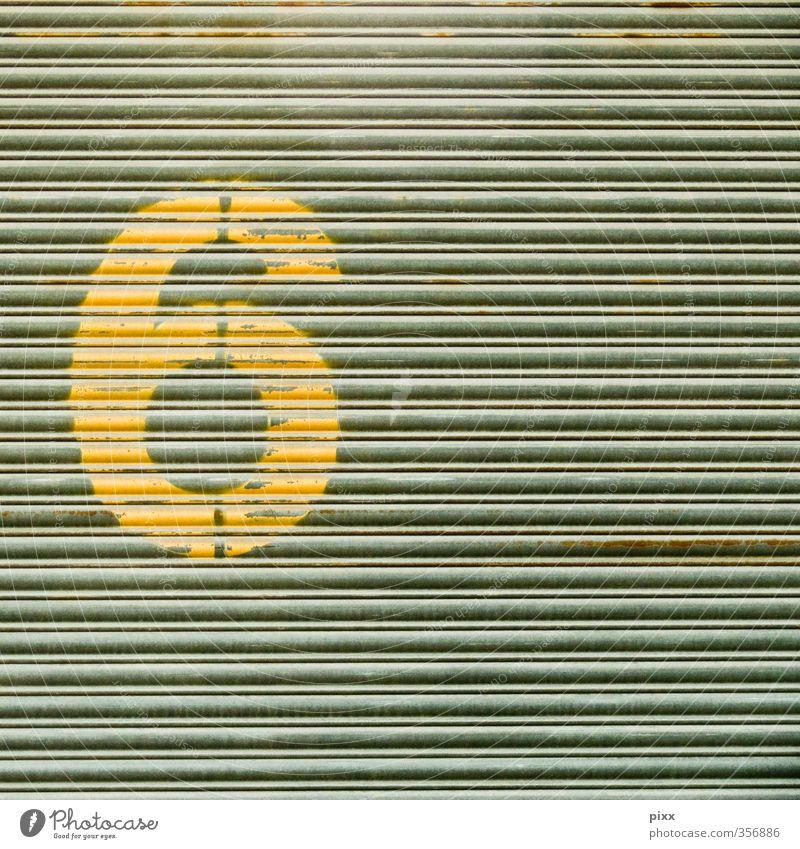 einfach 6 Haus Anstreicher Industrie Metall Zeichen Ziffern & Zahlen Schilder & Markierungen dreckig gelb grau Tor rund stencil Typographie Beschriftung Mitte