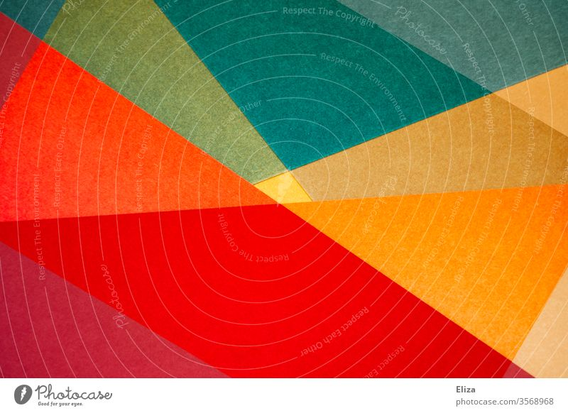 Bunte abstrakte und geometrische Formen gemoetrisch bunt Kunstwerk Frage Hintergrund eckig überlappen Strukturen & Formen Design Muster Kreativität