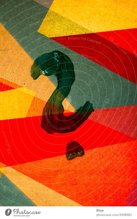 Ein gemaltes Fragezeichen auf bunten abstrakten und geometrische Formen Bildung gemoetrisch Kunstwerk Hintergrund eckig überlappen Strukturen & Formen Design