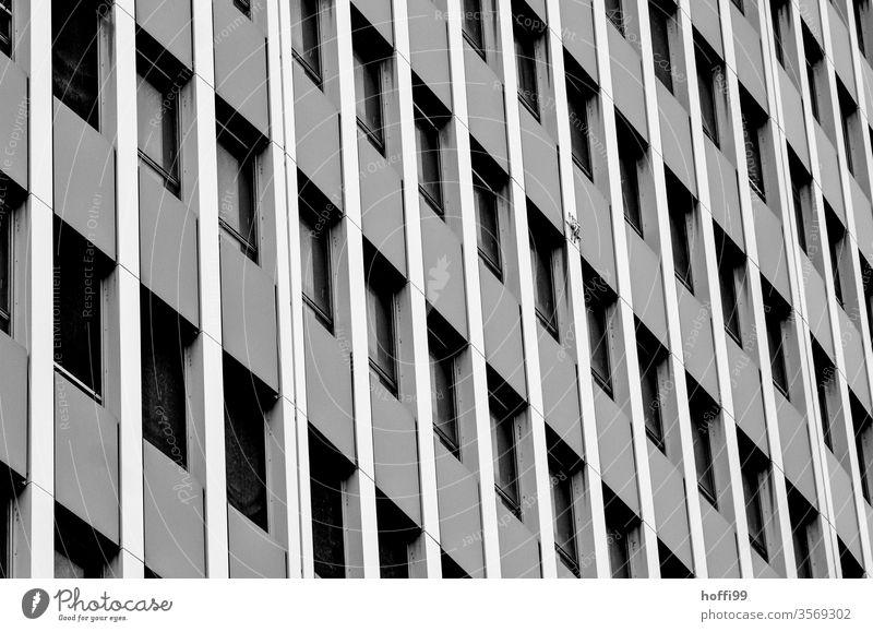 monotone Aussenfassade eines Hochhauses Monotonie Hochhausfassade Fassade Fenster Einsamkeit Stadt hässlich Architektur Linie modern komplex Gebäude Ordnung