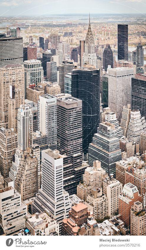 Luftaufnahme der Skyline von New York City, USA. Antenne Großstadt New York State Wolkenkratzer Gebäude Metropole Manhattan Büro Appartement Architektur nyc