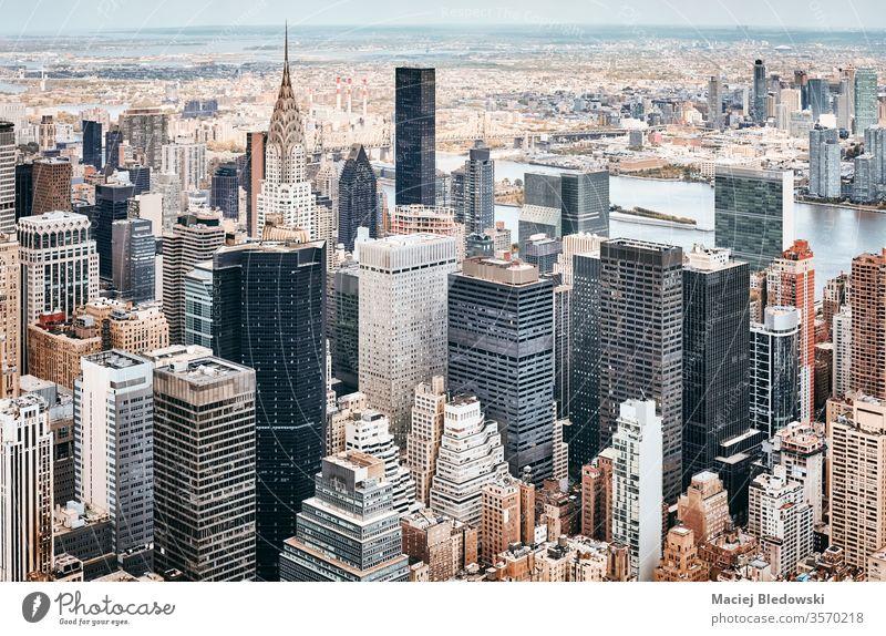 Luftaufnahme der Skyline von New York City, USA. Antenne Großstadt New York State Gebäude Metropole Wolkenkratzer Manhattan Büro Appartement Architektur nyc