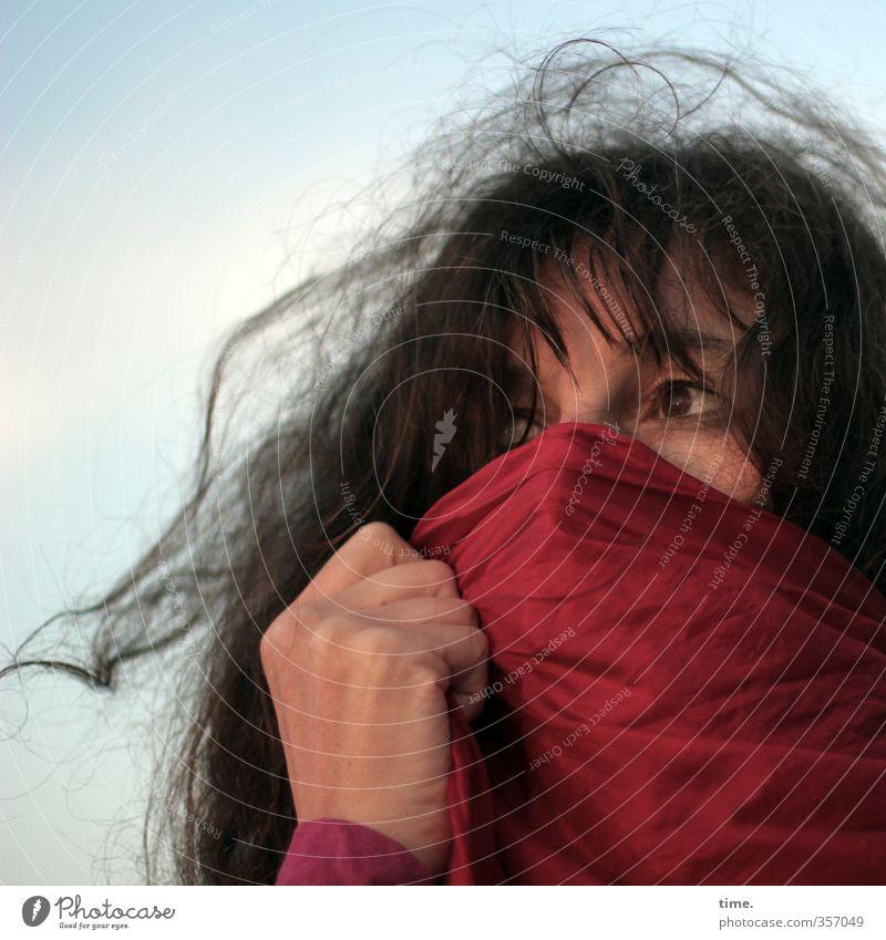 . Mensch Frau Himmel Hand Erwachsene Auge Leben feminin Zeit Horizont Stimmung Wind Schönes Wetter beobachten Wandel & Veränderung einzigartig