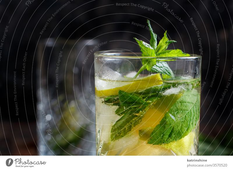 Hausgemachter erfrischender Mojito-Cocktail in einem hohen Glas Mocktail Minze Kalk Caipiroska Caipirinha Limonade Getränk trinken Blatt Alkohol Zitrusfrüchte