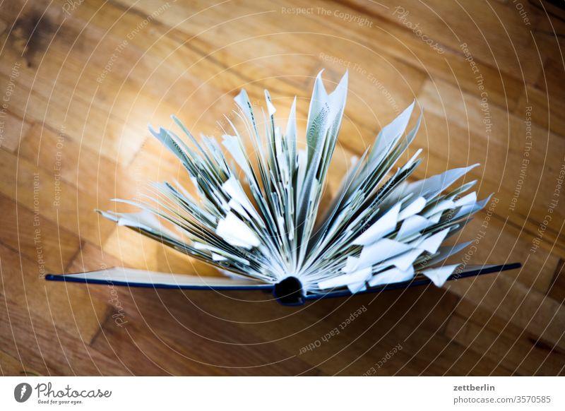 Offenes Buch belletristik bibliothek buch eselsohr lesen lesestoff lesezeichen literatur roman schmökern studium offenes buch aufgeschlagen tisch holz wissen