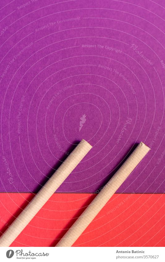 Zwei Zigaretten von oben liegen flach auf rosa und violettem Hintergrund als Symbol des weiblichen Rauchens Symbole copyspace zwei Kopie Tag graphisch