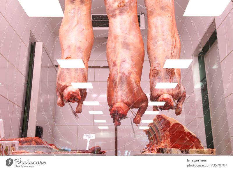 Halal Metzgerei. ganzes Lamm. Supermarkt. Fleischindustrie, Fleisch, Lammfleisch, das im Kühlhaus am Haken hängt, hinter einer Glasscheibe, Glastheke in einem Türkisch Geschäft. Halal Schneiden. Halal Foodstore