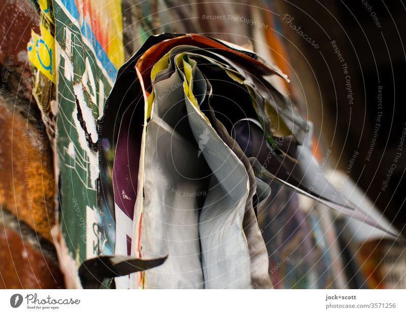 Dies ist die Ablösung abstrakt Detailaufnahme Zahn der Zeit verwittert bleich verwaschen kleben Wellenform unbeständig Sammlung Plakat Strukturen & Formen