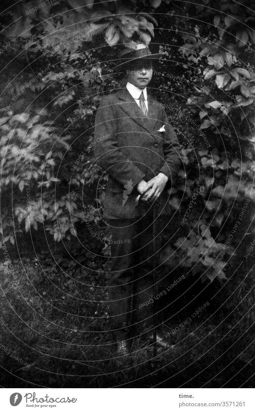 shy guy damals früher historisch kleidung anzug park busch hut krawatte Einstecktuch stehen portrait hände falten wiese baum gehstock