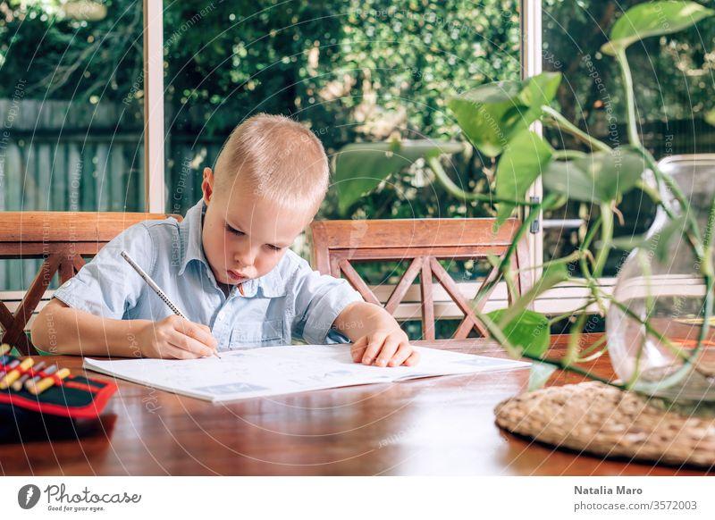 Kleines Kind, das zu Hause in einem Lehrbuch zeichnet, ein Junge, der Stift hält und schreibt. Unscharfe Monsterpflanze im Vordergrund. heimwärts Tisch Bildung