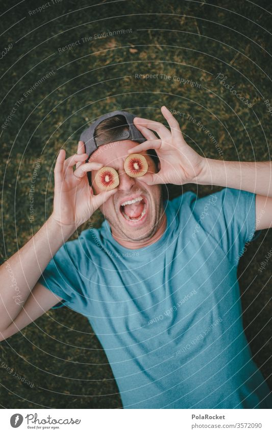 #As# Eyecatcher Kiwi Kiwifrucht Kiwi-Eiscreme verrückt verrückt spielen verrücktheit crazy ausgeflippt Model Neuseeland Blick bekloppt ausgefallen Spaßvogel