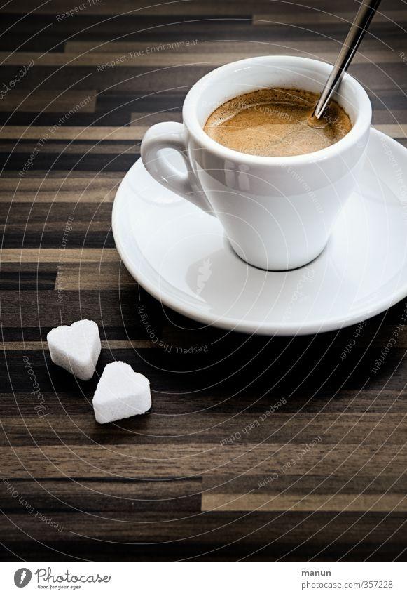 klein, stark, schwarz Lebensmittel Süßwaren Zucker Ernährung Getränk Erfrischungsgetränk Heißgetränk Kaffee Espresso Tasse Löffel Lifestyle trinken genießen