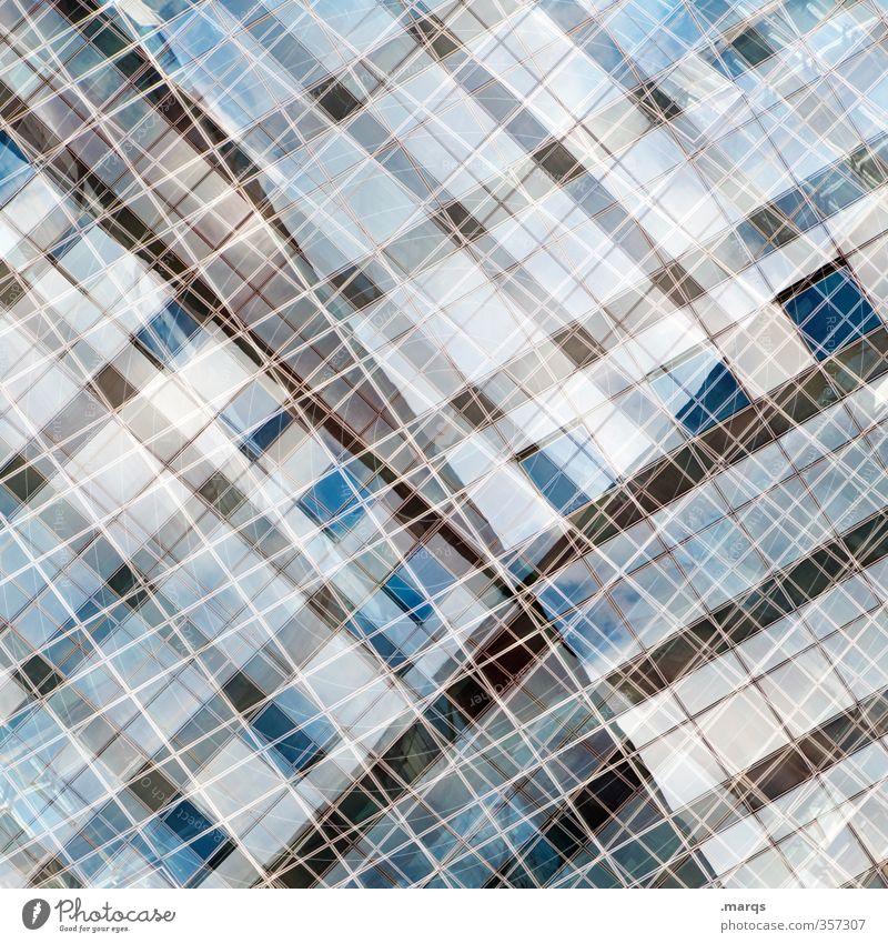Vernetzt elegant Stil Design Fassade Fenster Glas Metall Linie außergewöhnlich Coolness einzigartig modern verrückt Irritation Zukunft Doppelbelichtung Farbfoto