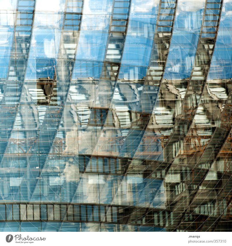 Total blau | Spiegel elegant Stil Design Baustelle Kunst Bauwerk Gebäude Architektur Fassade Glas Linie alt außergewöhnlich Coolness einzigartig modern verrückt
