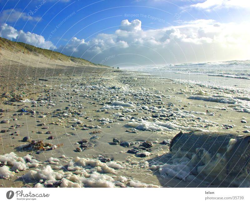 Strand Dänemark 01 Himmel Strand Wolken Müll Stranddüne Schaum Dänemark