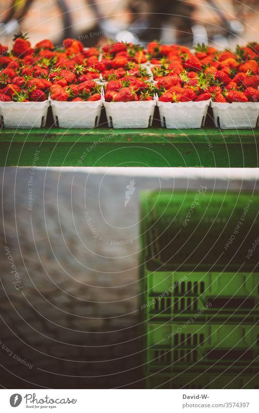 Wochenmarkt - frische Erdbeeren Marktplatz Gemüse Obst Marktstand nachhaltig gesund Bioprodukte Händler verbraucher Käufer Verkäufer kaufen verkaufen