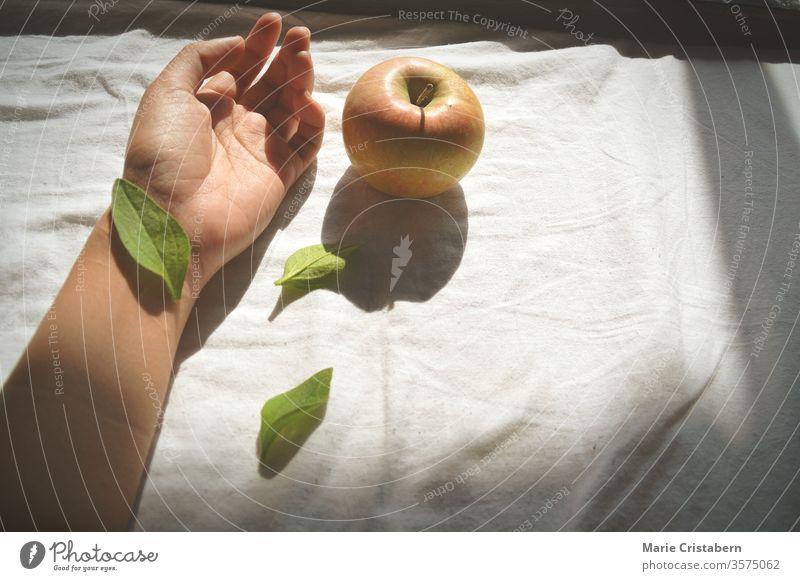 Blatt, das die Handgelenkshand und einen Apfel gegen ein weißes Bettlaken bedeckt Selbstmordkonzept Selbstmord-Bewusstsein Begriffsbild Selbstmörder