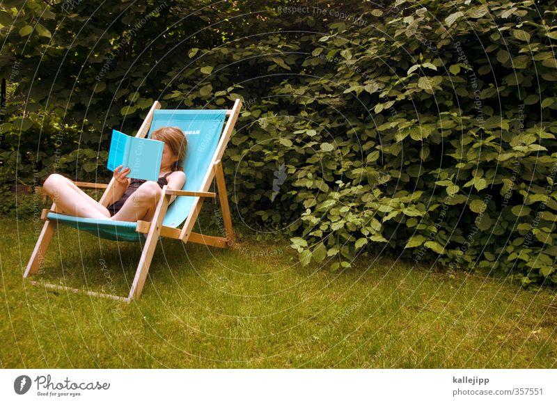 gartenlektüre Mensch Kind grün Sommer Mädchen Erholung ruhig Wiese Leben Garten Kindheit Haut sitzen Buch lernen lesen