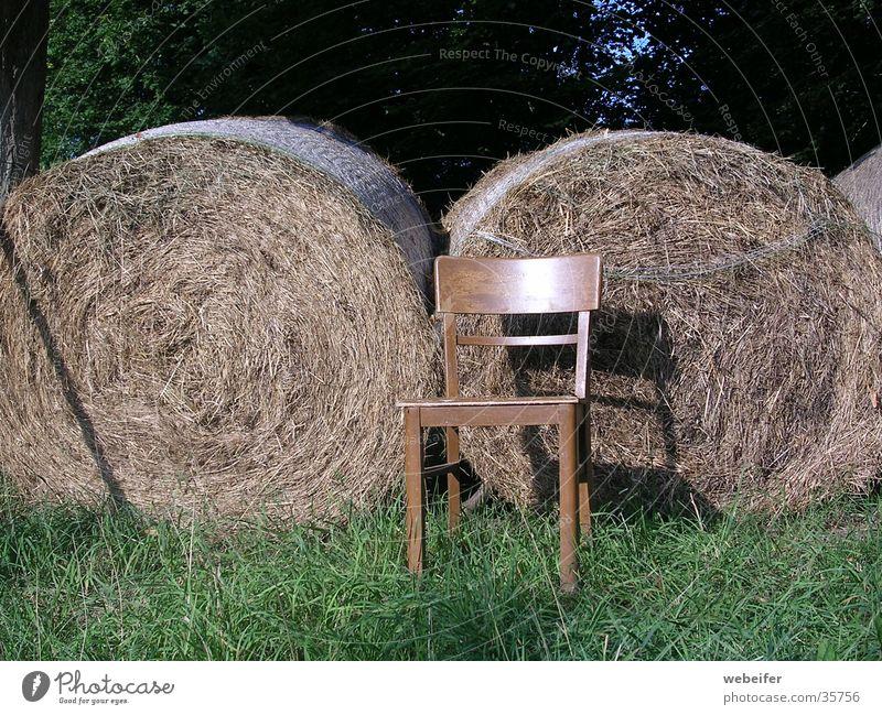Sommer-Idylle Sonne ruhig Erholung Stuhl Bauernhof Stroh Strohballen