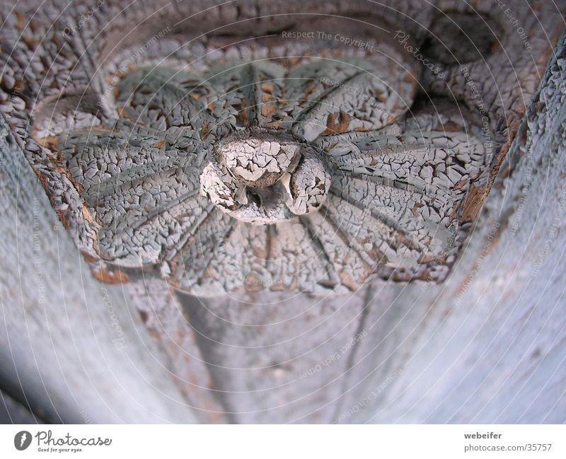 Schönheit des Verfalls hell-blau Blume Schnitzereien antik Holz Kunsthandwerk Möbel Tiefenschärfe Handwerk alt