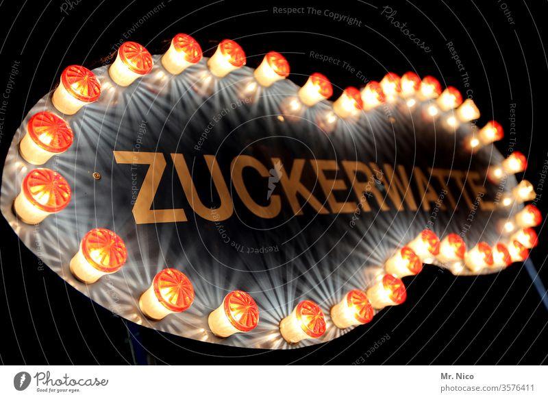 Zuckerwatte Kirmes Volksfest Jahrmarkt Oktoberfest Feste & Feiern süß Süßwaren ungesund Klebrig lecker Ernährung Essen Werbung Schilder & Markierungen Glühbirne