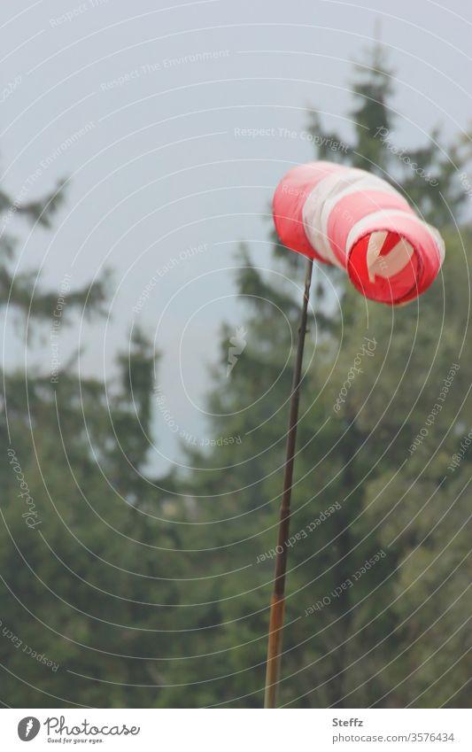 Wörtlich genommen l in den Wind reden Windsack Windsocke windig Windböe Himmel Außenaufnahme Wetter Natur Umwelt Luft schlechtes Wetter Windfahne grau trist