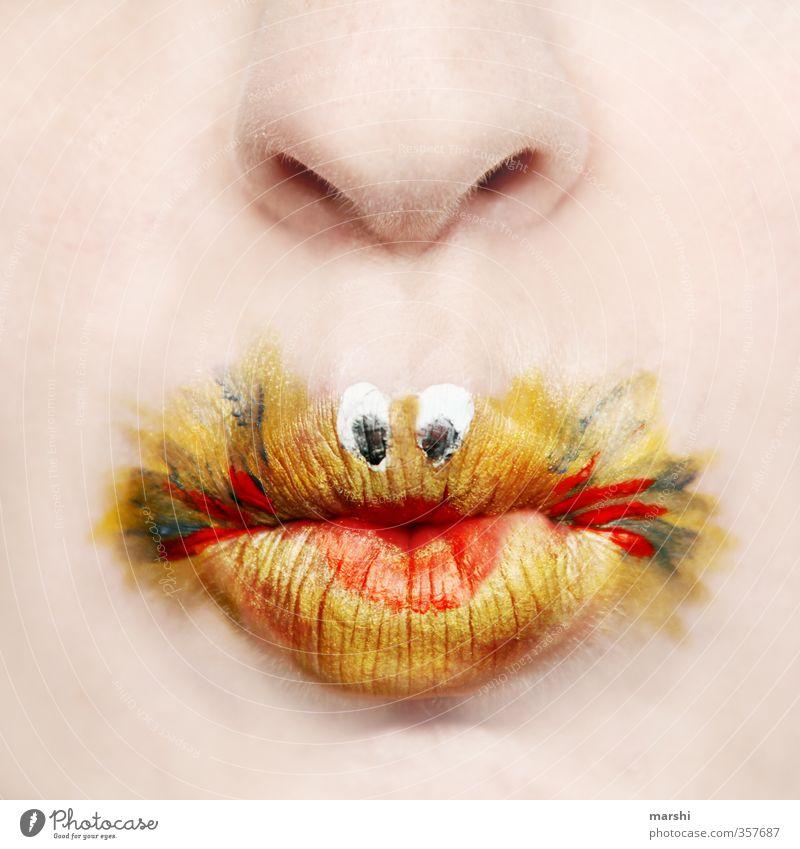 Goldiger Fisch Stil Freizeit & Hobby Mensch maskulin feminin Haut Mund Lippen 1 gelb gold Goldfisch niedlich angemalt Schminke Schminken lustig Idee Tierschutz