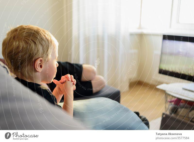 Kleiner Junge sieht zu Hause einen Film auf dem Fernsehbildschirm FERNSEHER heimwärts Menschen zuschauend Fernsehen Kind Sofa Liege Sitzen Familie Bildschirm
