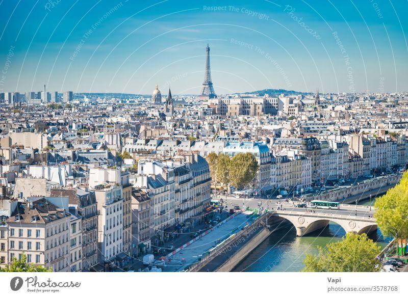 Pariser Stadtlandschaft mit Eilffelturm Turm Eiffel Frankreich Ansicht Skyline Großstadt Stadtbild Architektur Antenne Europa urban Französisch Wahrzeichen