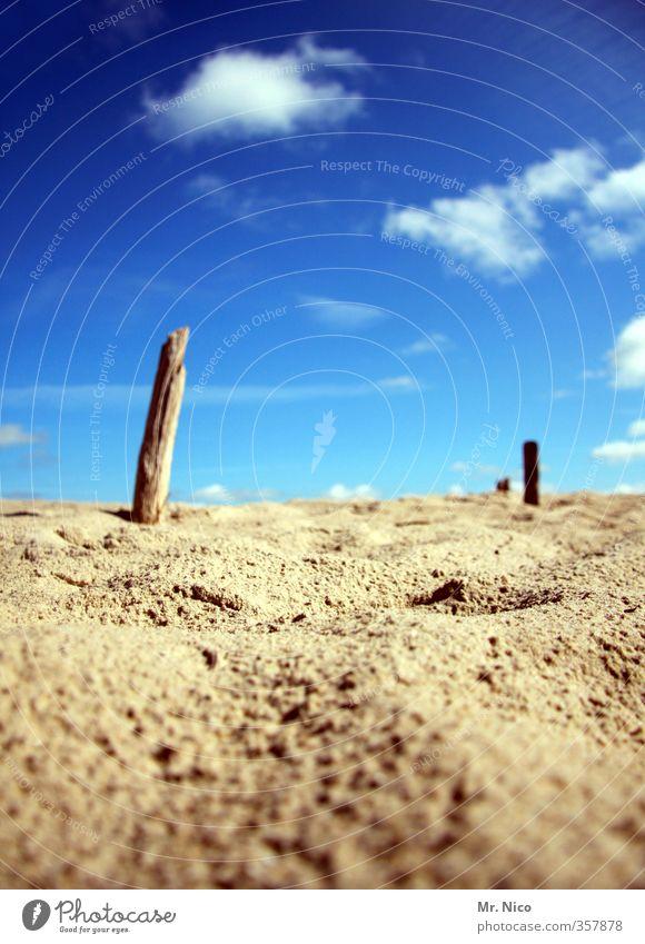 sommer Ferien & Urlaub & Reisen Sommer Sommerurlaub Strand Umwelt Natur Sand Himmel Wolken Schönes Wetter Wärme Pfosten Düne Erholung trocken blau Fernweh