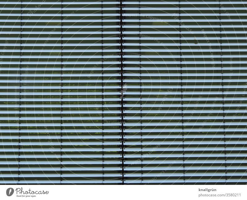 Zwei geschlossene silberfarbene  Jalousien nebeneinander Sichtschutz Linie Strukturen & Formen zu verbergen waagerecht Streifen Muster Schutz Schatten abstrakt