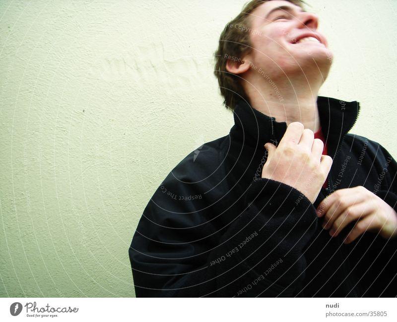 Mr. Feelgood Mann Fröhlichkeit Jacke schwarz Wand Hand Erholung lachen happy Glück