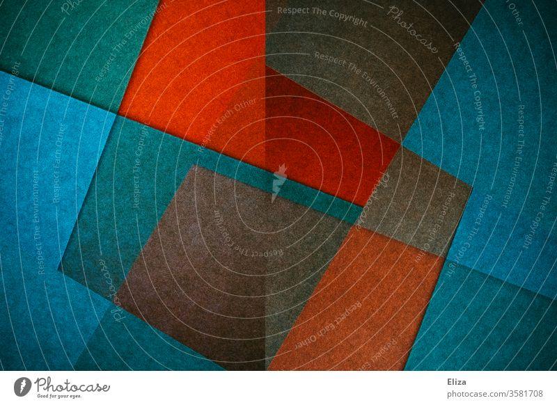 Abstrakte, grafische, geometrische Flächen und Formen in blauen und roten Farben abstrakt Forman bunt W eckig kantig knallig experimentell Struktur textur