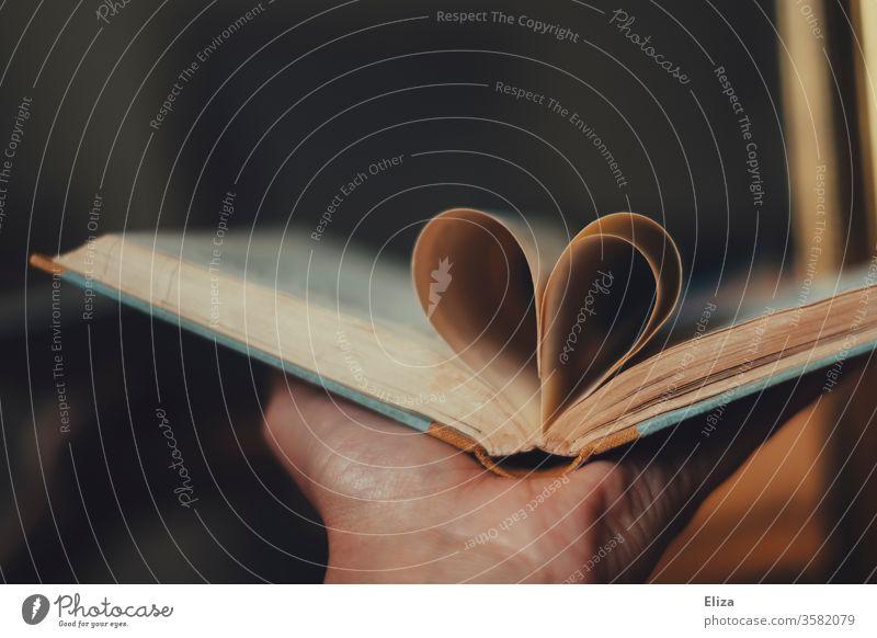 Ein Herz aus den Seiten eines Buches. Konzept Liebe zur Literatur und zum Lesen. Leidenschaft lesen Roman Bildung Vorlesen Printmedien Lesestoff Buchseite