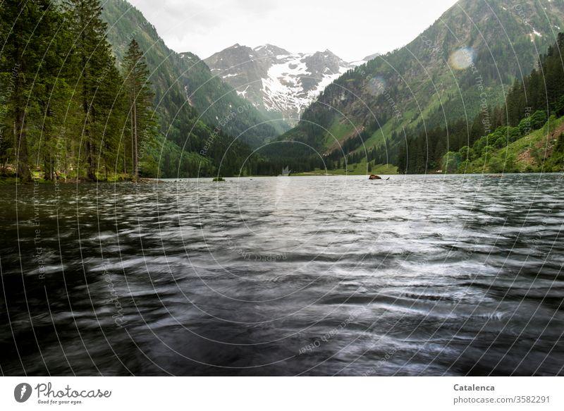 Es regnet an einem Sommertag in den Bergen, der Bergsee, Wiese und Wald nehmen ihn dankbar an Alpen Regen Wetter nass See Berge u. Gebirge Landschaft Wasser