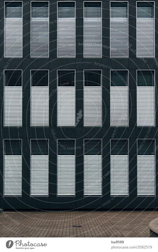 Trist und Monoton - geschlossene Jalousien einer Bürofassade Fenster dunkel trist grau hässlich Rollo trostlos dreckig jalousinen Tristesse Einsam Frustration