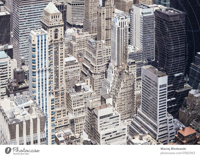 New York City diverse Architekturen, USA. Wolkenkratzer amerika Manhattan Gebäude Stadtzentrum neu Großstadt urban hoch Außenseite Luftaufnahme Turm oben