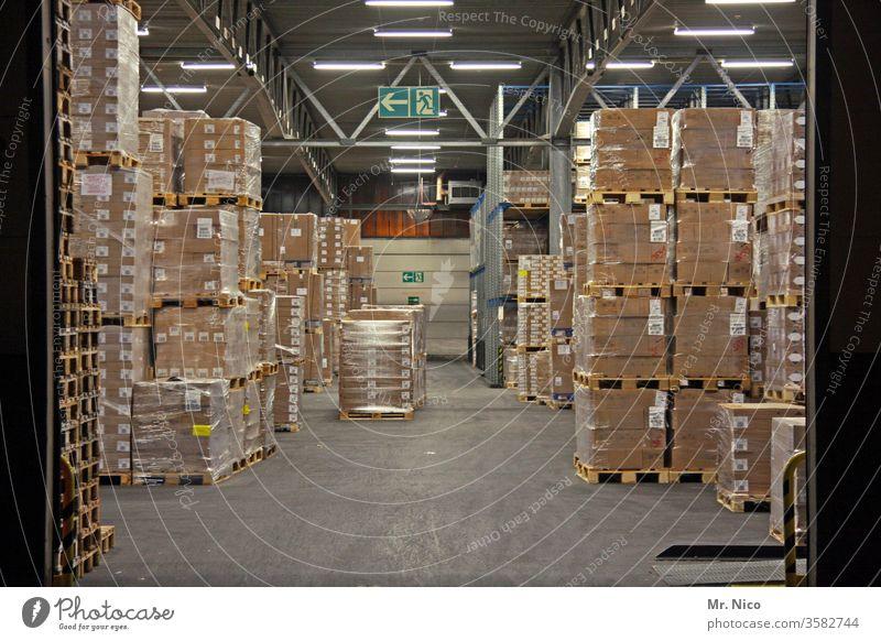 Warenlager Lagerhalle Handel Güterverkehr & Logistik Paletten Kartonage Versandhandel Großhandel Lagerhaus Gebäude Halle Tor Arbeit & Erwerbstätigkeit Spedition