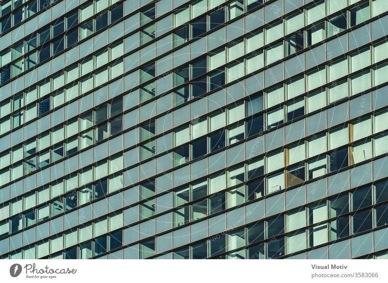 Reihen von verglasten Fenstern der Fassade eines modernen Bürogebäudes Gebäude Glas urban Architektur Metropolitan finanziell Zeitgenosse im Freien Revier