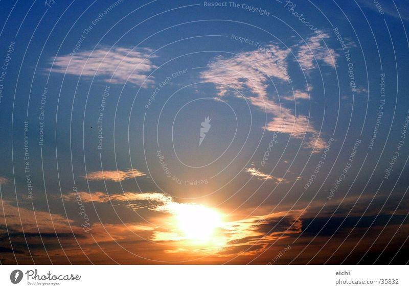 sonnenklar! Sonnenuntergang Wolken Sommer Winter Luft blau Abend Abenddämmerung Natur Himmel