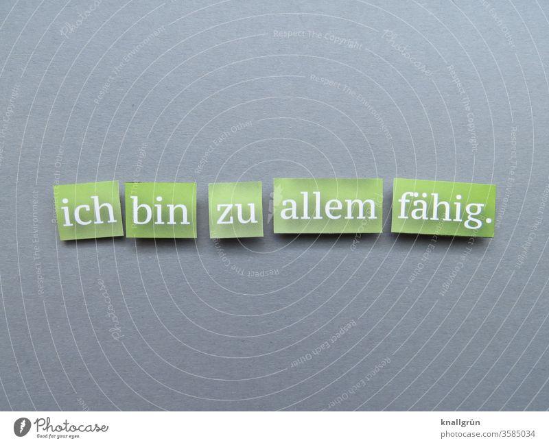 Ich bin zu allem fähig. gefährlich bedrohlich Warnung Warnhinweis Schilder & Markierungen Angst Hinweisschild Warnschild Buchstaben Wort Satz Schriftzeichen