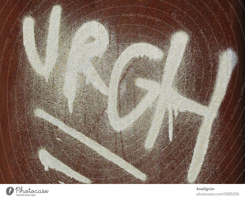 URGH würgen Sprache Lautmalerei Wort Comic Urgh Buchstaben Schriftzeichen Typographie Menschenleer Lateinisches Alphabet Letter Text Nahaufnahme Kommunizieren