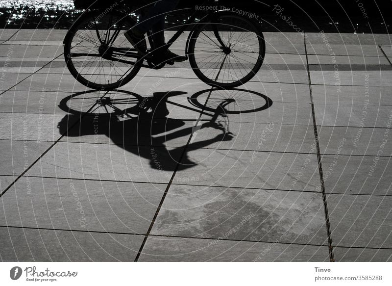 Schattenbild von Fahrradfahrer an der Spree Schwarz-weiß Schwarz-weiß-Fotografie Fahrradtour Licht und Schatten Radtour Fahrradfahren Freizeit & Hobby