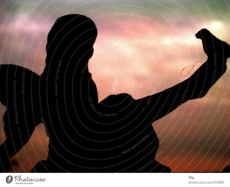 Engelchen #3 Vogel rot Mädchen Fee Flügel Beine sitzen Himmel Abenddämmerung ruhig friedlich Kontrast