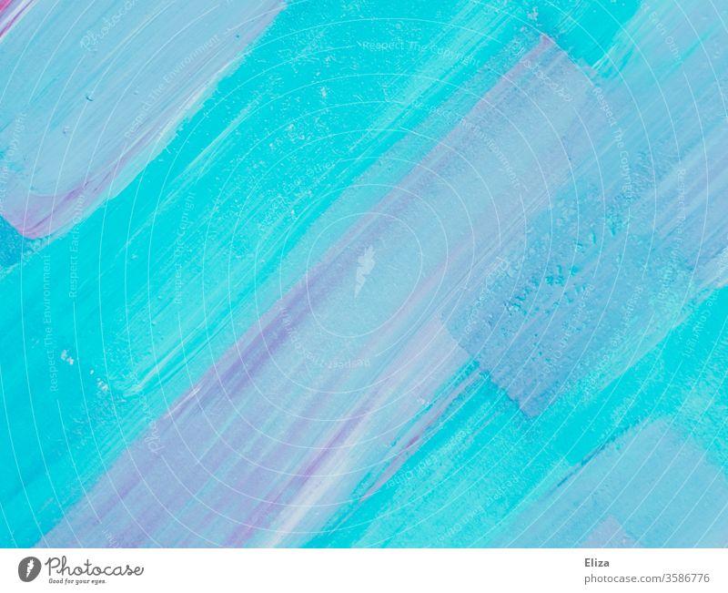Lila und hellblaue Pinselstriche aus Acylfarbe Farbe lila mischen Acrylfarbe Malerei Kunst Textur Struktur Verlauf Farbverlauf malen künstlerisch nah