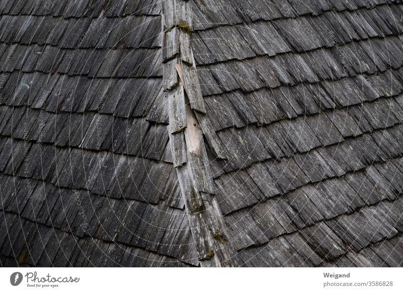 Holzdach Krimi düster alt historisch Dach Schindeln Kelten First Regenwetter dunkel finster grau Ziegel