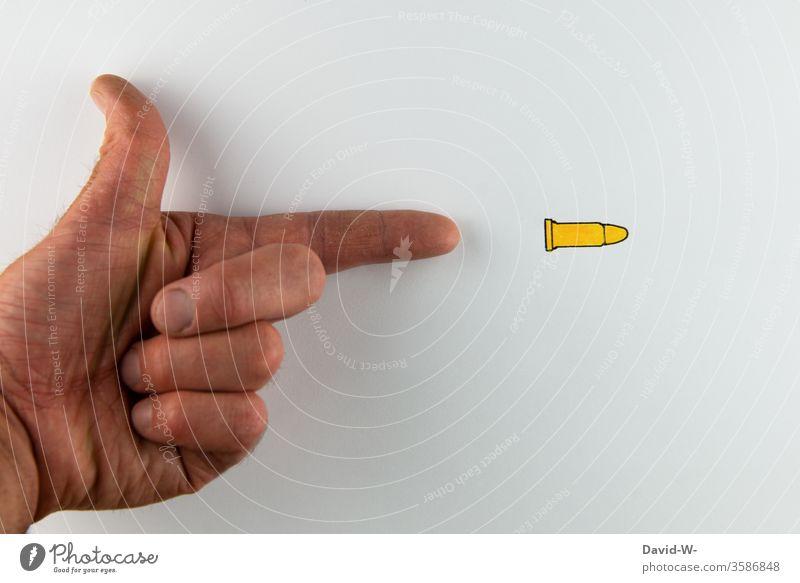 2700 - Treffer Schuss Pistole Waffe Gewalt Hand kreativ Kreativität Darstellung Patrone schießen dargestellt Zeichnung zeichnen Gewaltkriminalität Waffen
